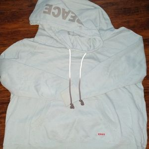 Peace love world cowl hoodie 2x aqua